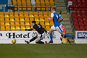 Cedwyn Scott of Dundee fires home to complete the scoring in his side's 3-0 win - St Johnstone v Dundee in the SPFL development league at McDiarmid Park, Perth<br /> <br />  - &copy; David Young - www.davidyoungphoto.co.uk - email: davidyoungphoto@gmail.com