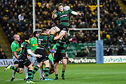 Northampton Saints back row Jamie Gibson (7) wins a line out ball during the Gallagher Premiership Rugby match between Northampton Saints and Harlequins at Franklins Gardens, Northampton, United Kingdom on 1 November 2019.