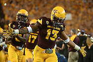 TEMPE, AZ - SEPTEMBER 03:  Defensive back Armand Perry #13 of the Arizona State Sun Devils reacts while taking the field against Northern Arizona Lumberjacks at Sun Devil Stadium on September 3, 2016 in Tempe, Arizona. The Sun Devils won 44-13.  (Photo by Jennifer Stewart/Getty Images)