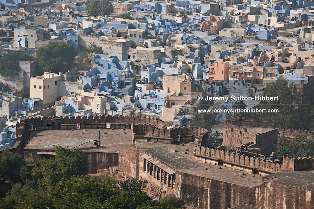 Views of the Blue City of Jodhpur, seen from the battlements of Mehrangarh Fort, in Jodhpur, in Rajasthan, India, on 27th December 2011.