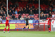 Crawley Town Forward James Collins celebrates his goal with Crawley Town Midfielder Enzio Boldewijn 1-0 during the EFL Sky Bet League 2 match between Crawley Town and Luton Town at the Checkatrade.com Stadium, Crawley, England on 17 September 2016. Photo by Phil Duncan.