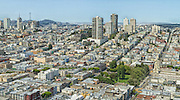 USA, California, San Francisco. The San Francisco landscape as seen from atop Coit Tower.