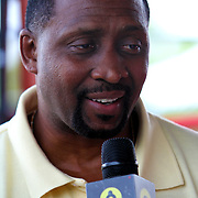 "Inductee Thomas ""Hitman"" Hearns speaks to the media during the 23rd Annual International Boxing Hall of Fame Induction ceremony at the International Boxing Hall of Fame on Sunday, June 10, 2012 in Canastota, NY. (AP Photo/Alex Menendez)"