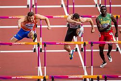 12-08-2017 IAAF World Championships Athletics day 9, London<br /> Pieter Braun NED, was goed voor de vijftiende tijd met 14,67 op de 110 m horden. Rechts de Duitser Kai Kamirek
