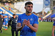 Peterborough defender Ryan Tafazolli (5) claps the fans after the EFL Sky Bet League 1 match between Peterborough United and Burton Albion at London Road, Peterborough, England on 4 May 2019.