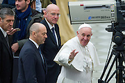 Vatican City jan 20th 2016, weekly general audience. In the picture the swiss guards commander Christoph Graf, the vatican gendarmerie commander Domenico Giani, and pope Francis