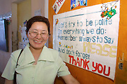 GOBI DESERT, MONGOLIA..08/31/2001.School at Bayangovi. An English teacher..(Photo by Heimo Aga).
