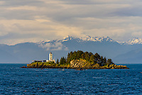 The Five Finger Islands Light (lighthouse), Stephens Passage, Inside Passage, Southeast Alaska USA.