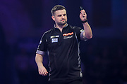 Luke Woodhouse hits a double and wins the second set during the PDC William Hill World Darts Championship at Alexandra Palace, London, United Kingdom on 15 December 2019.
