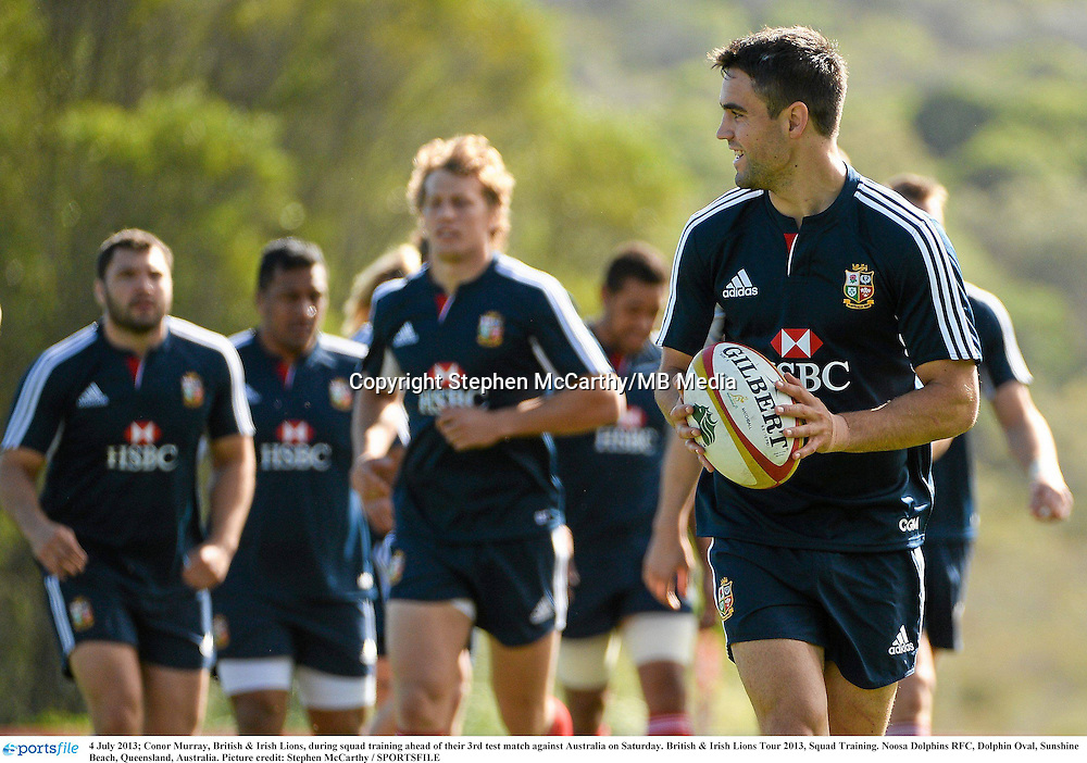 4 July 2013; Conor Murray, British & Irish Lions, during squad training ahead of their 3rd test match against Australia on Saturday. British & Irish Lions Tour 2013, Squad Training. Noosa Dolphins RFC, Dolphin Oval, Sunshine Beach, Queensland, Australia. Picture credit: Stephen McCarthy / SPORTSFILE