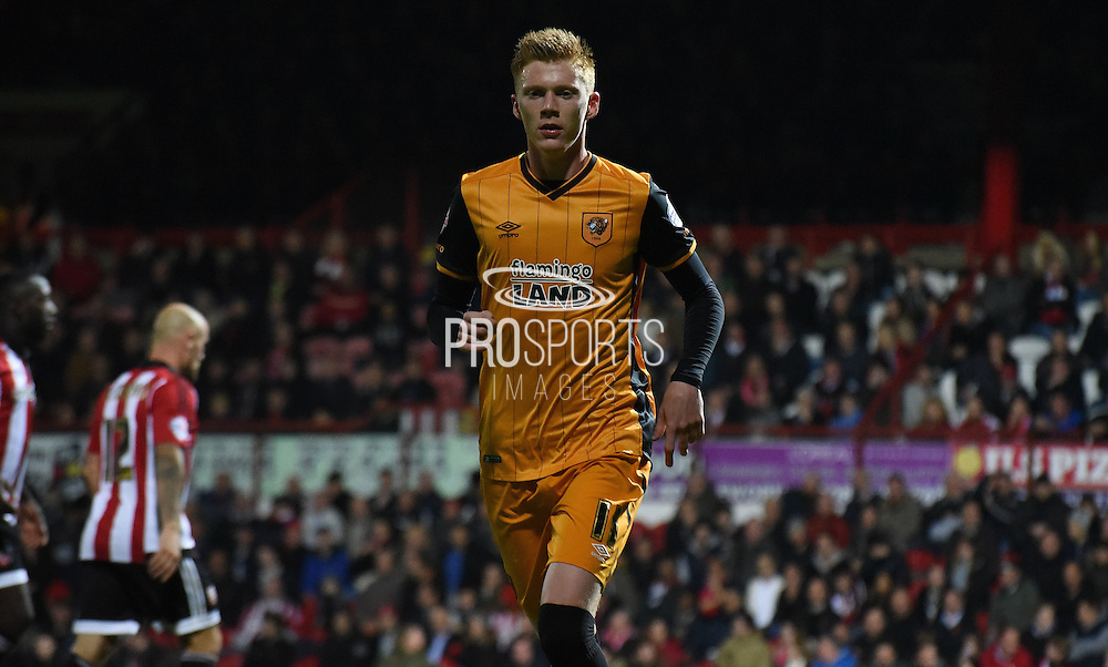 Sam Clucas in action during the Sky Bet Championship match between Brentford and Hull City at Griffin Park, London, England on 3 November 2015. Photo by Michael Hulf.