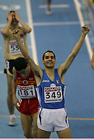 Photo: Rich Eaton.<br /> <br /> EAA European Athletics Indoor Championships, Birmingham 2007. 03/03/2007. Cosimo Caliandro of Italy wins gold in the final of the mens 3000m