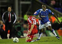 Photo: Rich Eaton.<br /> <br /> Birmingham City v Liverpool. Carling Cup. 08/11/2006. Cameron Jerome right of Birmingham tries to get past Stephen Warnock of Liverpool