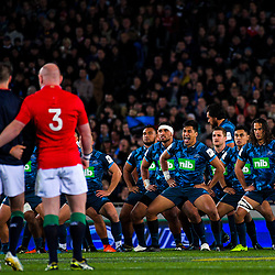 The Blues perform a haka during the 2017 DHL Lions Series rugby union match between the Blues and British & Irish Lions at Eden Park in Auckland, New Zealand on Wednesday, 7 June 2017. Photo: Dave Lintott / lintottphoto.co.nz