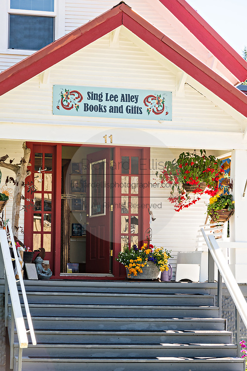 Sing Lee Alley Books & Gift shop in the tiny village of Petersburg on Mitkof Island, Alaska. Petersburg settled by Norwegian immigrant Peter Buschmann is known as Little Norway due to the high percentage of people of Scandinavian origin.