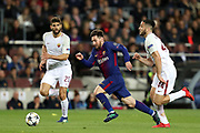 LIONEL MESSI of FC Barcelona duels for the ball with KOSTAS MANOLAS of AS Roma during the UEFA Champions League, quarter final, 1st leg football match between FC Barcelona and AS Roma on April 4, 2018 at Camp Nou stadium in Barcelona, Spain - Photo Manuel Blondeau / AOP Press / ProSportsImages / DPPI