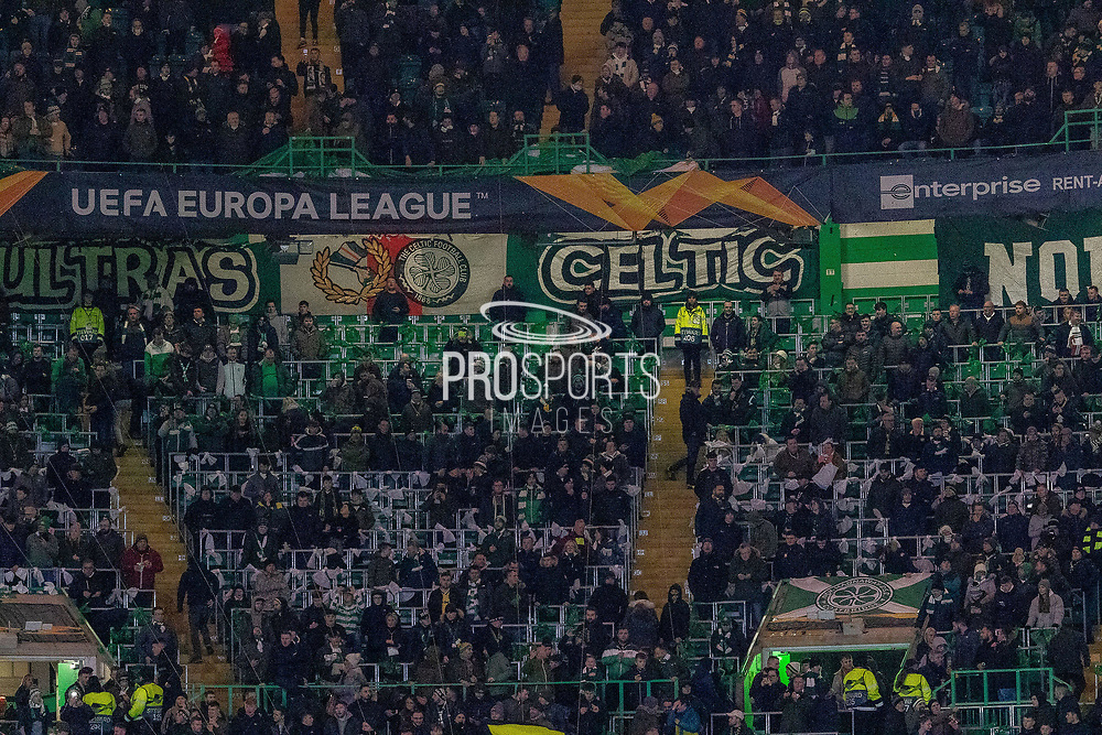 The light show signals the emergence of the players from the tunnel ahead of the Europa League match between Celtic and FC Copenhagen at Celtic Park, Glasgow, Scotland on 27 February 2020.
