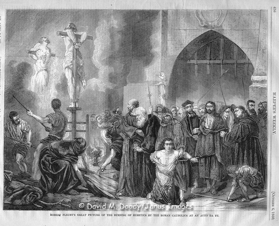 vintage illustration:  Harper's Weekly 1860. Roman Catholics Burning heretics at an Auto da Fe  (act of faith) by Robert Fleury. Inquisition.