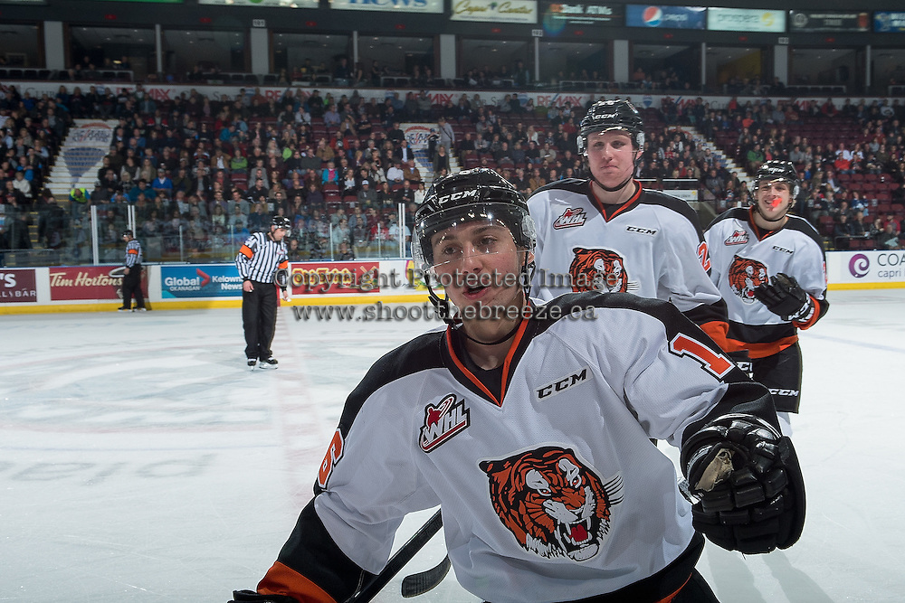 KELOWNA, CANADA - NOVEMBER 5: Max Gerlach #16 of the Medicine Hat Tigers skates to the bench to celebrate a first period goal against Kelowna Rockets on November 5, 2016 at Prospera Place in Kelowna, British Columbia, Canada.  (Photo by Marissa Baecker/Shoot the Breeze)  *** Local Caption ***
