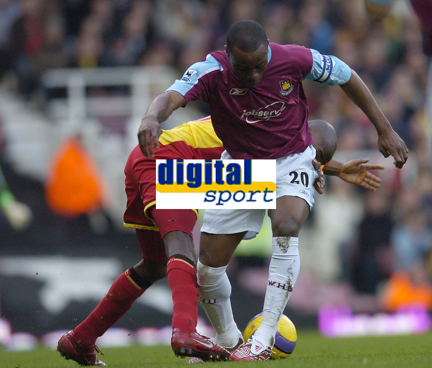 Photo: Olly Greenwood.<br />West Ham United v Watford. The Barclays Premiership. 10/02/2007. West Ham's Nigel Reo-Coker and Watford's Damien Francis