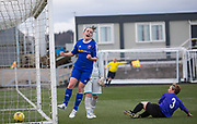 Robyn Smith celebrates afte scoring Farmington's third goal  in their 4-1 win over East Fife - Forfar Farmington v East Fife in the Scottish Womens' Premier League 2 at Station Park in  Forfar : Image &copy; David Young<br /> <br />  - &copy; David Young - www.davidyoungphoto.co.uk - email: davidyoungphoto@gmail.com