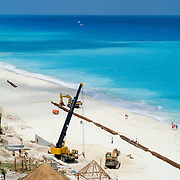 Reconstruction of the beach after hurricane Wilma. Cancun, Quintana Roo. Mexico