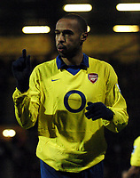 Photo: Javier Garcia/Back Page Images<br />Portsmouth v Arsenal, FA Barclays Premiership, Fratton Park, 19/12/04<br />Thierry Henry shows how much a first half shot missed by
