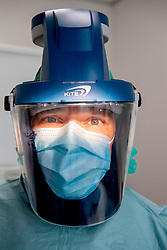 A dentist in a special equipment in action in Den Bosch, Netherlands on April 22, 2020. Dentists can get back to work: 'But there must be protective equipment' protective equipment coronavirus. Photo by Robin Utrecht/ABACAPRESS.COM