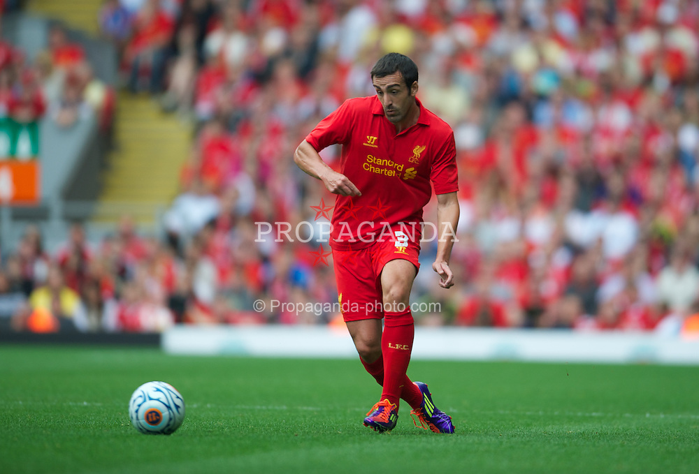 LIVERPOOL, ENGLAND - Sunday, August 12, 2012: Liverpool's Jose Enrique in action against Bayer 04 Leverkusen during a preseason friendly match at Anfield. (Pic by David Rawcliffe/Propaganda)