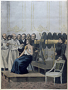 Francisque Crotte treating a patient with tuberculosis using electricity. From 'Le Petit Journal', Paris, 1901