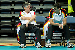 11.09.2011, O2 Arena, Prag, CZE, Europameisterschaft Volleyball Maenner, Vorrunde D, Deutschland (GER) vs Slowakei (SVK), im Bild Raul Lozano (Bundestrainer GER), Juan Manuel Serramalera (Co-Trainer GER) // during the 2011 CEV European Championship, Germany vs Slovakia at O2 Arena, Prague, 2011-09-11. EXPA Pictures © 2011, PhotoCredit: EXPA/ nph/  Kurth       ****** out of GER / CRO  / BEL ******