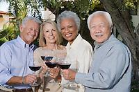 Senior people raising toast in garden