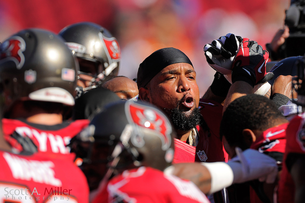 Tampa Bay Buccaneers tackle Donald Penn (70) gets his teamed fired up prior to the Bucs game against the Atlanta Falcons at Raymond James on November 25, 2012 in Tampa, Florida. ...©2012 Scott A. Miller.