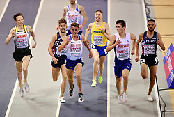 Norway's Jakob Ingebrigtsen looks across at Great Britain's Andrew Butchart on his way to winning heat 1 of the men's 3000m during day one of the European Indoor Athletics Championships at the Emirates Arena, Glasgow.