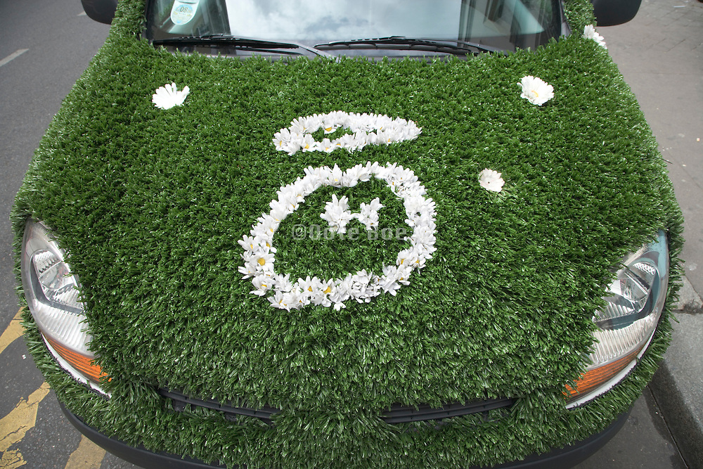 parked car covered with fake grass