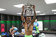 Forest Green Rovers Kaiyne Woolery(14) with the trophy during the Vanarama National League Play Off Final match between Tranmere Rovers and Forest Green Rovers at Wembley Stadium, London, England on 14 May 2017. Photo by Shane Healey.