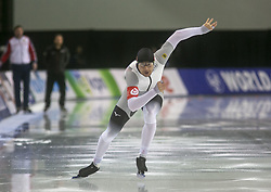 March 9, 2019 - Salt Lake City, Utah, USA - Joel Dufter of Germany competes in the mens 1000m speed skating at the ISU World Cup at the Olympic Oval in Salt Lake City, Utah. (Credit Image: © Natalie Behring/ZUMA Wire)