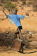 Scarecrow in a Samburu Maasai village. Samburu Maasai is an ethnic group of semi-nomadic people Photographed in Samburu, Kenya