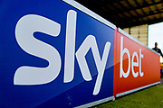 Sky Bet sign during the EFL Sky Bet League 2 match between Mansfield Town and Northampton Town at the One Call Stadium, Mansfield, England on 29 September 2018.