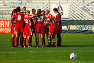 29 MAY 2010 -- FENTON, Mo. -- Incarnate Word Academy's starters gather on the field before the start of overtime in their game against Cor Jesu Academy during the MSHSAA Class 3 girls' soccer quarterfinal at the A-B Center in Fenton, Mo. Saturday, May 29, 2010. CJA won, 1-0, in overtime. Photo © copyright 2010 by Sid Hastings.