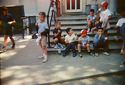 children in a day camp having an ice cream break ( 1960's)