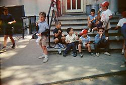children in a day camp having an ice cream break ( 1960's)