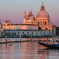 Sunrise view of Basilica di Santa Maria della Salute at twilight, Venice, Italy, 2014