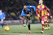 Calvin Andrew shoots during the EFL Sky Bet League 1 match between Bradford City and Rochdale at the Northern Commercials Stadium, Bradford, England on 9 December 2017. Photo by Daniel Youngs.