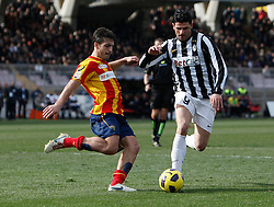 ITALY, Lecce :Iaquinta J Donati L during the Serie A match between Lecce and Juventus at Stadio Via del Mare in Lecce on February 20, 2011. .AFP PHOTO / GIOVANNI MARINO