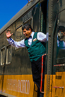 Chihuahua al Pacifico (Chepe) railroad train arriving at San Rafael, Copper Canyon, Mexico