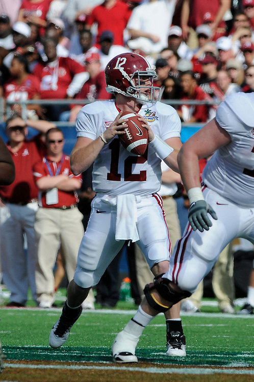 January 1, 2011: Greg McElroy of the Alabama Crimson Tide in action during the NCAA football game between Michigan State Spartans and the Alabama Crimson Tide at the 2011 Capital One Bowl in Orlando, Florida. Alabama defeated Michigan State 49-7.