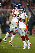 New York Giants rookie defensive back Sean Chandler (36) and New York Giants rookie defensive back Grant Haley (34) leap in the air and do a hip bump after a play during the NFL week 10 regular season football game against the San Francisco 49ers on Monday, Nov. 12, 2018 in Santa Clara, Calif. The Giants won the game 27-23. (©Paul Anthony Spinelli)
