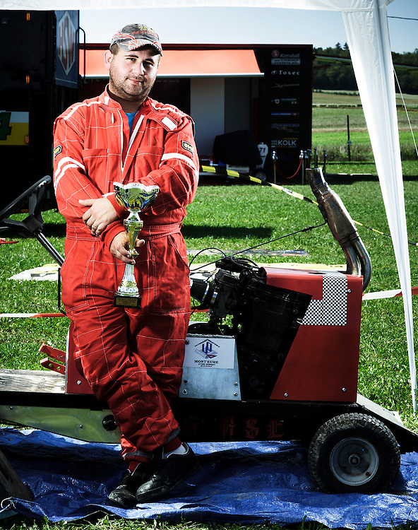 "BOUCONVILLE, FRANCE. AUGUST 21, 2011. Emmanuel Letellier and his garden pulling tractor ""Pegase"". Tractor Pulling: Eurocup 2011. Photo: Antoine Doyen"