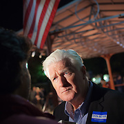 Former Congressman (VA-8) Jim Moran speaks to press, following a Democrat get out the vote (GOTV) rally at Market Square in Old Town Alexandria, VA, on  Monday, November 3, 2014, the day before Election Day.  John Boal Photography